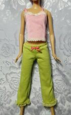 Barbie Doll Clothes - PJ's Pajamas - Green Pants, Pink Top