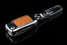 Genuine Leather + Zinc alloys Car Remote Key Cover For Touareg Polo Golf Orange
