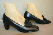 6 B Vtg 50s 60s Navy Blue Leather Air Step Big Buckle Mod Pumps Heel Shoe