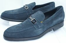 Tod's Mens Blue Shoes Gomma Size 8.5 Loafers Macro Clamp Drivers Dress Suede NIB