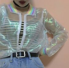 Holographic Iridescent Sheer Rainbow Jacket UK6-16 Mermaid Harajuku Festival