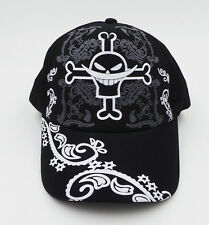Black color baseball cap/hat with anime One Piece white beard skull printings