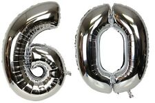 Large Number 60 Silver Balloons 60th Birthday Anniversary Foil Float Helium USA