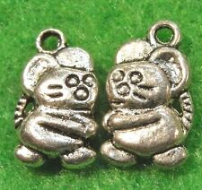 50 Pcs. WHOLESALE Tibetan Silver 2-Sided MOUSE Charms Pendant Earring Drop Q0006