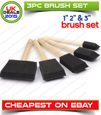 3pcs Foam Brush Sponge Wooden Handle Paint Craft Gule Glass Glitter Application