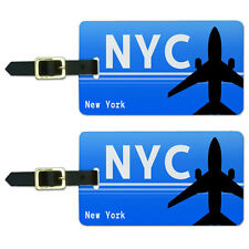 New York NY - All airports (NYC) Airport Code Luggage Suitcase ID Tags Set of 2