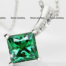 Emerald Green Crystal Diamond Silver Necklace Pendant Chain Birthday Gifts Mum