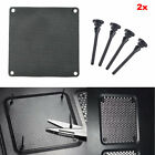 2x Computer Case Fan Dustproof Dust Filter + Silicone Shock Fan Screws 80-140mm
