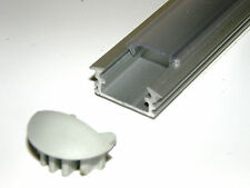 Aluminium Profile P1 for LED Strips: Anodized Silver, CLEAR Cover, End Caps, 1m