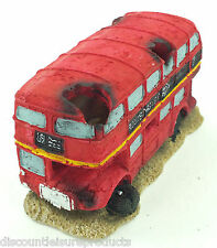 Aquarium Double Decker Red London Tour Bus Ornament Fish Tank Decoration #2834D1