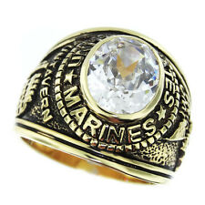 Mens Military Marines Clear Oval CZ Stone Gold Plated Ring Size 13
