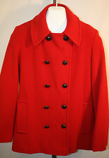 Lands End Womens Ladies Red Wool Winter Peacoat Size 8