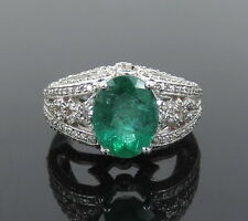 Estate Effy 3.28ct Emerald & 1.02ct Diamond 14K White Gold Decorated Ring