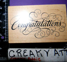 PSX CONGRATULATIONS FANCY RUBBER STAMP RETIRED G-1611