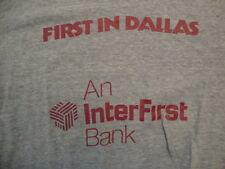 Vintage Inter First Bank First In Dallas Ringer Gray Soft T Shirt Size M