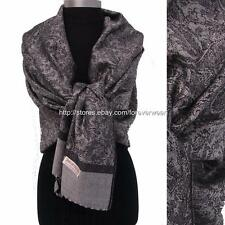 Grey black Paisley Floral 70%Pashmina/30%Silk Scarf Wrap Shawl Soft Classic 4d