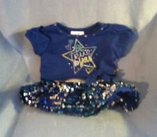 Build A Bear Justice Clothes Blue Shirt Sequin Blue Skirt Outfit