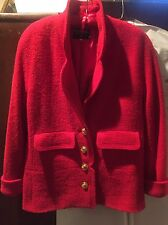 VTG CHANEL RED Jacket  Size 40 NICE         4Gold Tone Button's Chain Inside