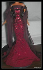 OUTFIT MATTEL BARBIE DOLL BIRTHSTONE GARNET RED  FITTED GOWN WRAP & SHOES