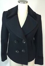 3.1 Phillip Lim Double Breasted Wool Coat Navy Peacoat Size 6 Lined Big Buttons
