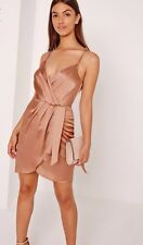 Missguided Silky Strappy Wrap Cami Short Dress Champagne Nude Mink Rose UK 6