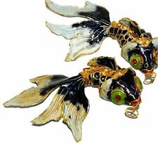 86mm Chinese Cultural Black Cloisonne Golden Fish Bead 1pc