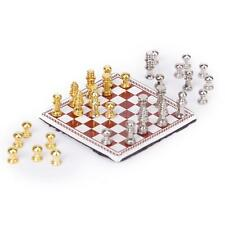 1:12 Doll House Miniature Metal Chess Set with 1.5 x 1.5 Inch Plastic Chessboard
