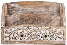 En bois sculpté fleur miroir courrier porte lettre rack post bac stockage 25x10cm