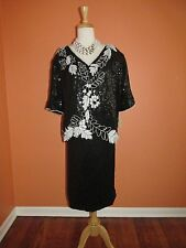 New Vintage D'Albert Size 3X Black Sequin Two Piece Party Cocktail Dancing Dress