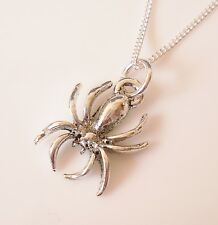 925 Sterling Silver Necklace With Antique Silver Spider Charm Pendant