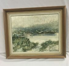 John Waterhouse Original Oil Painting on Board Seaside Stormy Landscape Scene