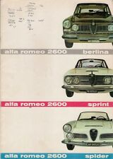 Alfa Romeo 2600 1962-63 UK Market Sales Brochure Berlina Sprint Spider