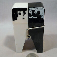 Vintage Plastic B&W One Piece Clothes Pin S&P Shaker