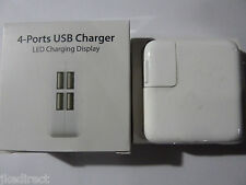 4 Multi-Port USB Wall Charger 12W Power Adapter LED Charging Display for Apple