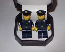 HAND MADE POLICEMAN POLICE OFFICER  LEGO CUFFLINKS IN  BEAUTIFUL JEWELRY BOX-