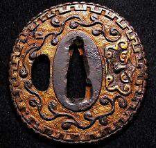 """Rare design TSUBA 18-19th C Japanese Edo Antique Sword fitting """"2 Faces"""" c955"""