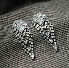 Sparkling Swarovski Crystal Metal Silver Tone Fringe Dangle Stud Earrings