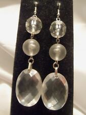 INCREDIBLE Vintage ULTRA CHUNKY Silver w/ CLEAR Lucite Dangle Earrings 15E127