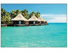 9 FOOT Tropical Beach Bungalow Wall Mural Scene Setter Photo Backdrop Luau Party