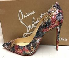 Christian Louboutin Pigalle Follies 100 Glitter Multicolor Pumps Heels Shoes 40