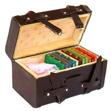 1/12th Doll House Miniature Vintage Faux Leather Wood Carrying Suitcase Luggage