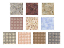 JAPANESE TAUPE PRINTS: 10 Fat Quarter Asian Oriental Quilt Fabric: 2.5 Yds
