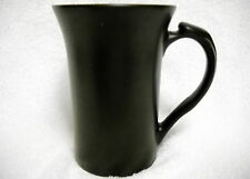 Tall Slender Flat Black Matte Coffee Mug Flared Top Thumb Rest Handle Unmarked