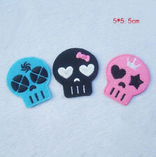 3pcs Cartoon Skull Embroidery Iron Sew On Patch Bag Motif Applique Badge DIY