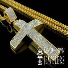 SOLID STEEL JESUS CROSS PENDANT CHARM FRANCO CHAIN NECKLACE SET YELLOW GOLD G/P