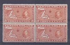 CANADA, NEWFOUNDLAND, 1937 KGV1, 3d (MAP) SG 258ec, MNH BLOCK 4, CAT £ 56