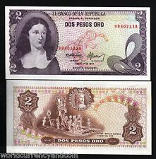 COLOMBIA 2 PESOS ORO P413 1977 GOLD MUSEUM UNC LATINO CURRENCY MONEY BANK NOTE