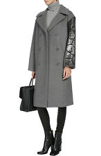NWT DKNY DONNA KARAN SzM RUNWAY WOOL COAT W/EMBELLISHED SLEEVE HEATHER GREY $995