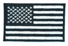 NEW US AMERICAN FLAG BLACK & WHITE IRON/SEW ON PATCH MILITARY SHOULDER T-SHIRT