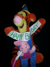 "Happy Birthday Tigger Piglet Disney Removable Banner Plush 14"" Toy"